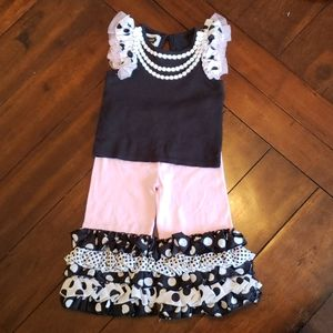 Mudpie pink & black polka dot and tulle ruffle set